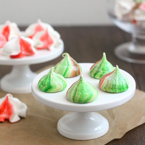 Red, White and Green Meringues