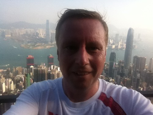 Marc on The Peak during the run, with view over Hong Kong