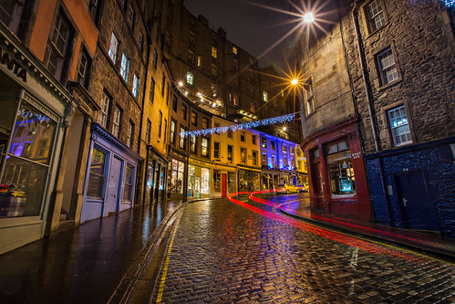 Victoria Street lights at night, Old town, Edinburgh, Scotland
