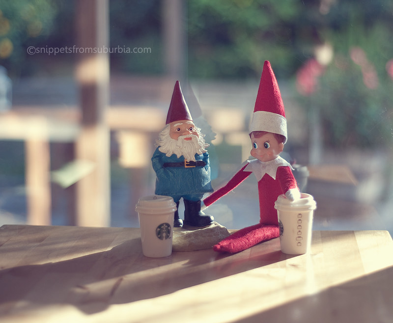 Sharing Coffee with a Friend Elf on the Shelf. Click for more ideas! #elfontheshelf