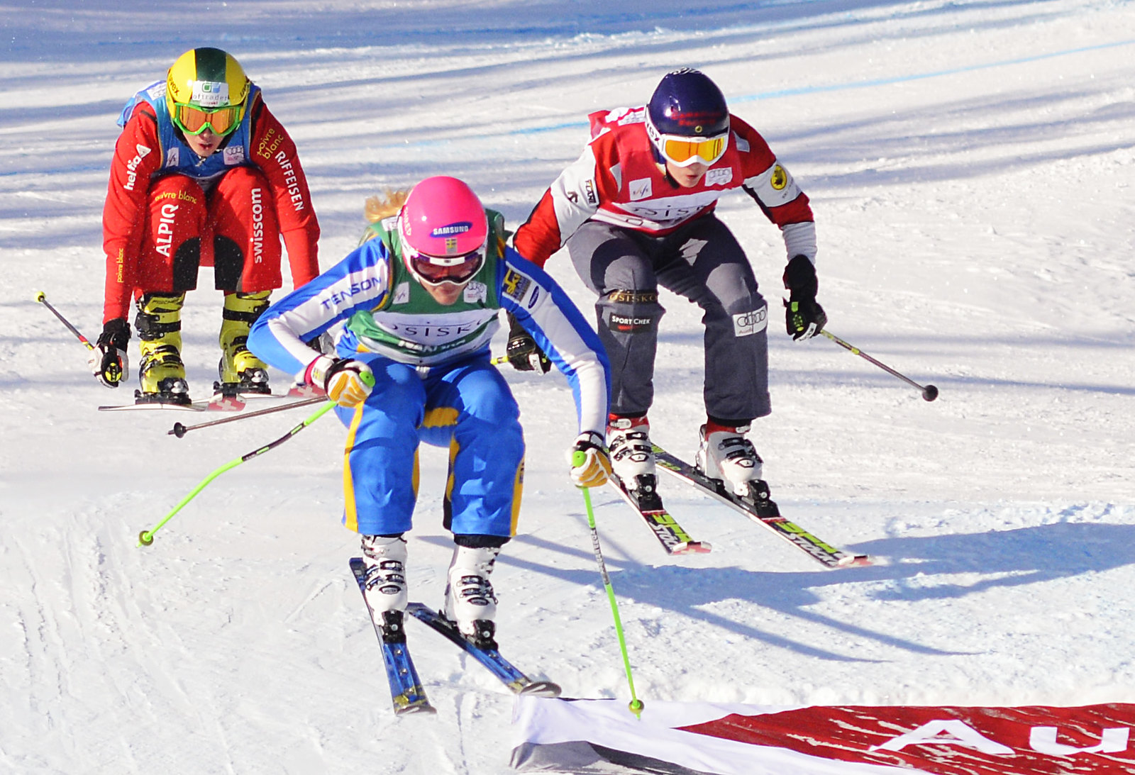 Kelsey Serwa on her way to a ninth-place finish at the Nakiska ski cross World Cup.