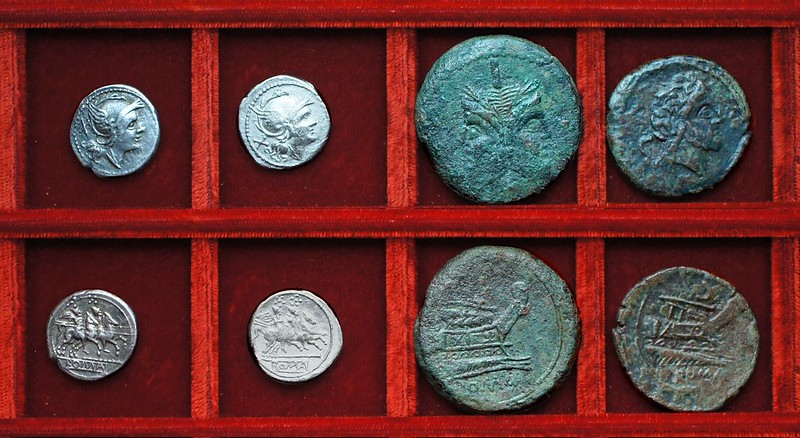 RRC 106 staff denarii, RRC 106 staff and club bronzes, Ahala collection, coins of the Roman Republic