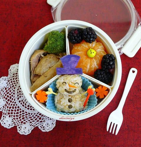 Snowman Onigiri Christmas Bento by sherimiya ♥