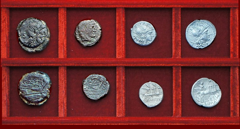 RRC 219 C.ANTESTI leaping dog Antestia bronzes, RRC 220 M.IVNI Junia denarius, RRC 221 AN.RVF Annia denarius, Ahala collection, coins of the Roman Republic
