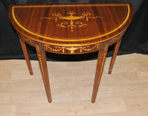 Pair Sheraton Demi Lune Console Tables www.canonburyantiques.com (2)