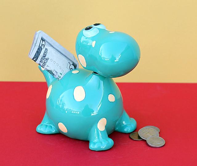 Bobble head blue dinosaur piggy bank coin money funny toys - Dinosaur piggy banks ...