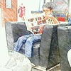 My #young cousin reading a #newspaper