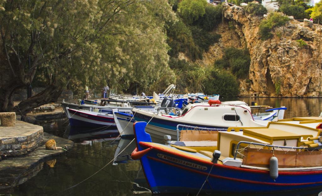 Moored boats on Voulismeni Lake in the Greek resort of Agios Nikolaos, Crete on Mallory on Travel, adventure, photography Iain Mallory-300-16