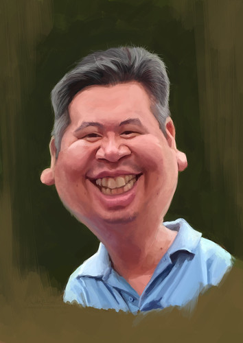 digital caricature of Sam for Hewlett Packard