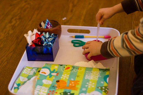 Present Wrapping (Photo from Montessori Mischief)