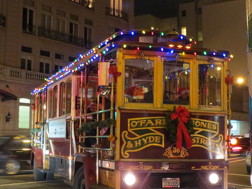 SF Cablecar with Christmas Lights