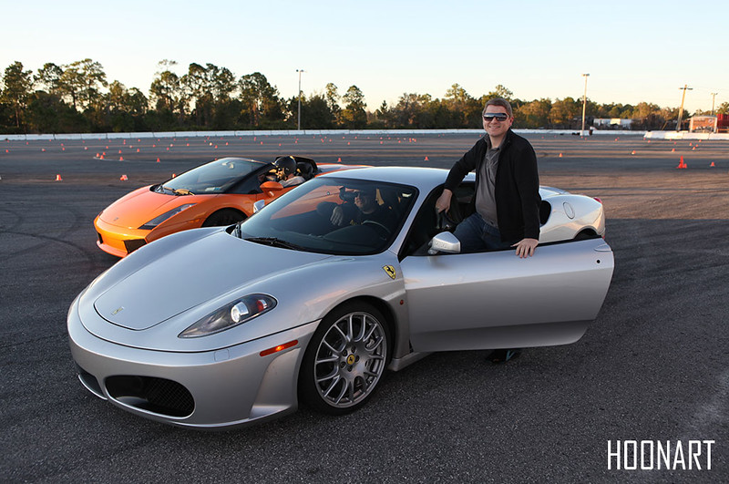 Self portrait with Ferrari F430 and Lamborghini Gallardo Spyder.