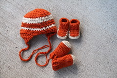hat, booties, and mittens for my cousin's new baby