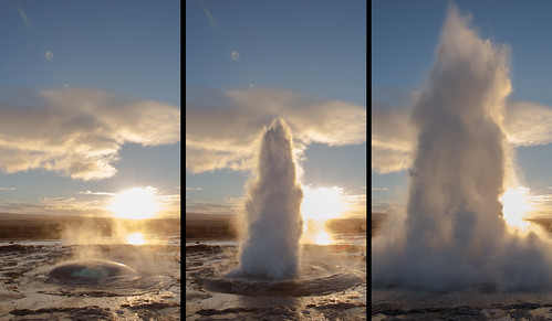 sunset southwest water iceland europe triptych south blow reykjavik geyser spout geysir thingvellir stokkur thingvellirnationalpark thomasheaton