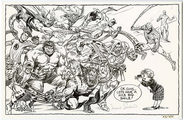 Marie Severin - Self-Portrait With the Marvel Superheroes 1996 black and white
