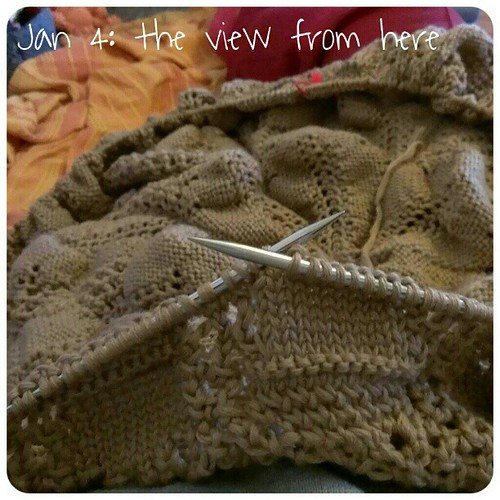 Jan 4: the view from here .. #knitting on the lap .. #fmsphotoaday