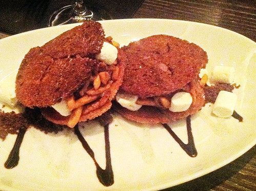 ICE CREAM SANDWICH for two (or three) - vanilla toasted brioche, dark chocolate ice cream vanilla marshmallow, candied almonds