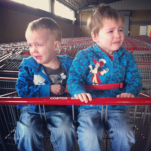 "For some reason people don't say, ""I've always wanted twins!"" to us too often anymore. #groceryshoppingwithtwins"