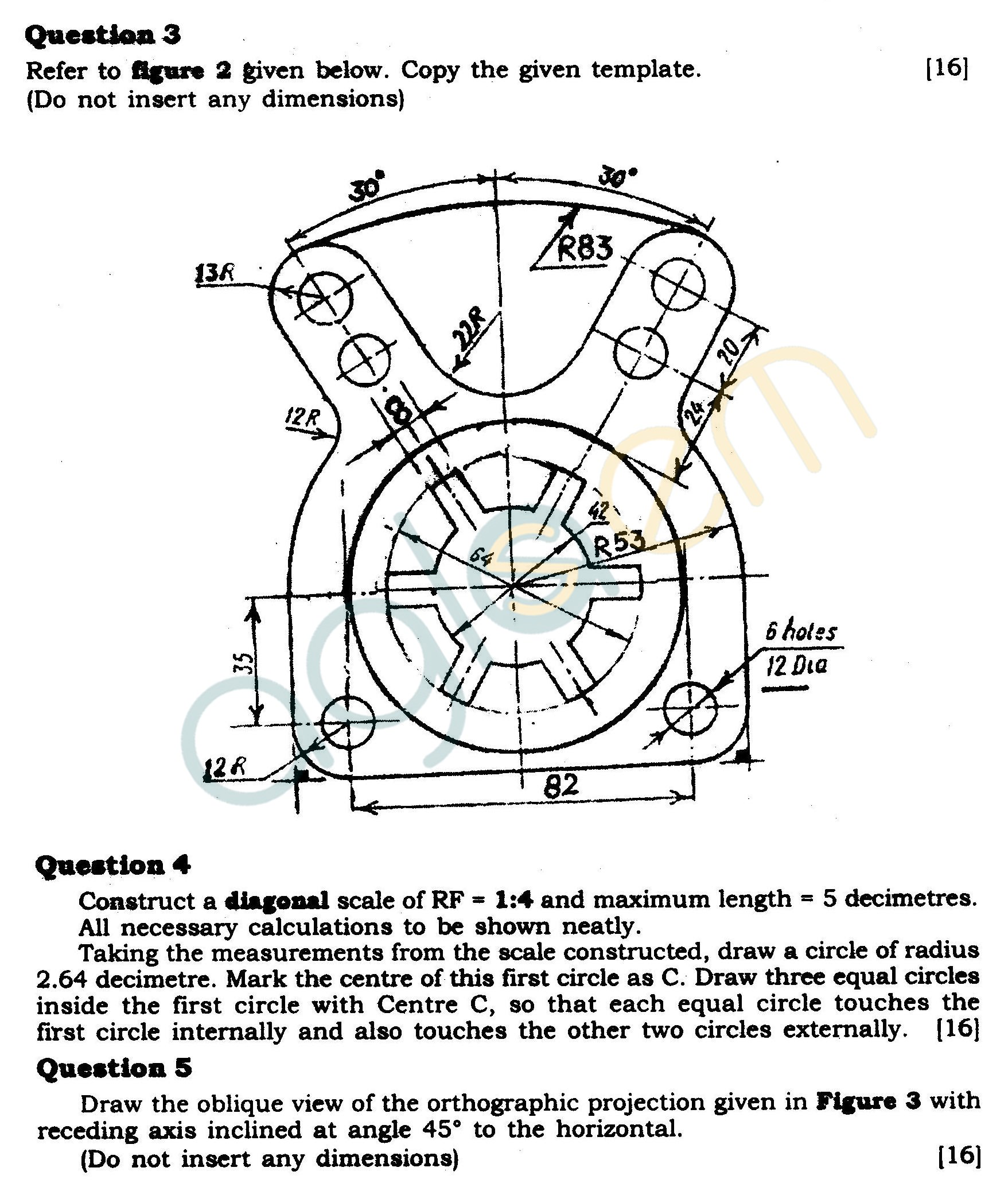 ICSE Class X Exam Question Papers 2012 Technical Drawing Applications