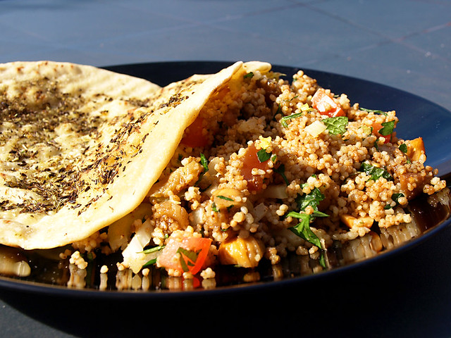 Za'atar flatbread and couscous