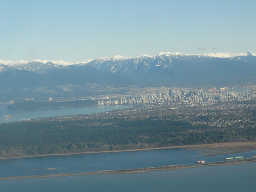 View over UBC with downtown Vancouver in the background