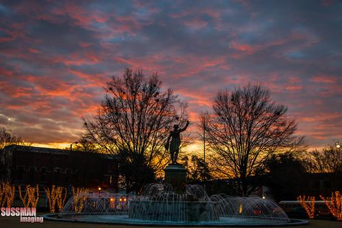 trees sky water fountain silhouette clouds sunrise georgia lights week2 lafayettesquare lagrange troupcounty thesussman downtownlagrange sonyalphadslra550 thememyhometown sussmanimaging 52in2013
