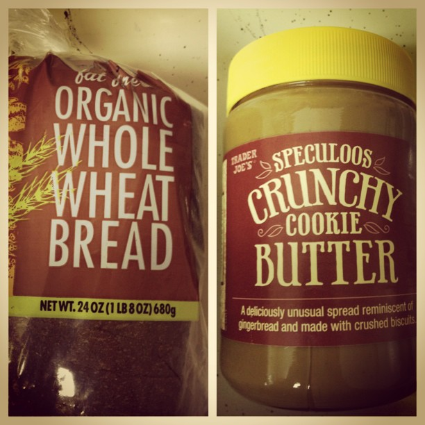 #TraderJoes #organic wheat bread & crunchy #cookiebutter for breakfast. Trying out the crunchy cookie butter for the first time. #nomnoms #excitamated