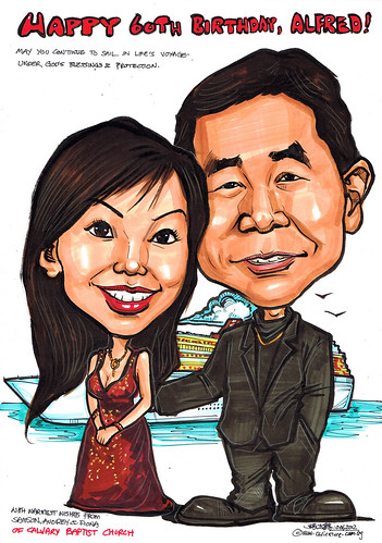 couple caricatures 60th birthday @ cruise