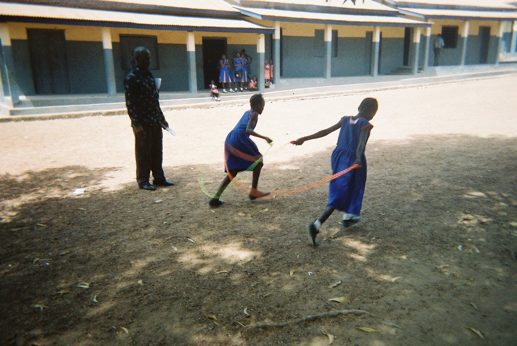 School children with skipping ropes, Makeni