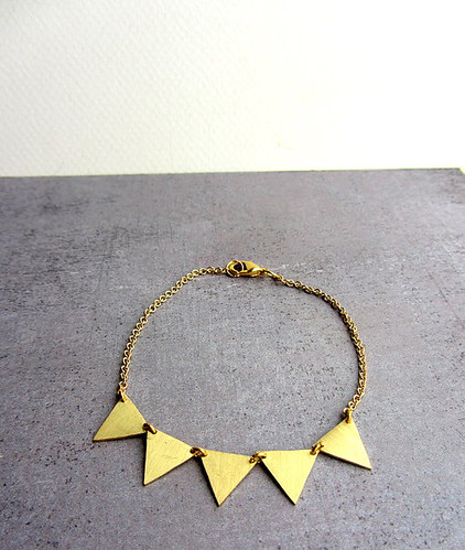 Gold chain bracelet garland brass triangle
