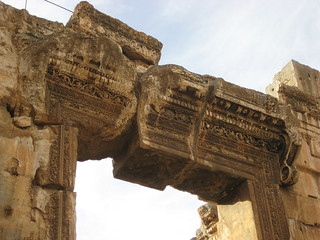 Above the entrance to the Temple of Bacchus in Baalbek.