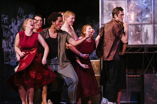The Sharks goading the Jets in Edinburgh University Footlights production of West Side Story, 2013. L-R: with Camilla Parkers, Ewan Mood, Olivier Huband, Finlay Macaulay, Georgie Sheppard and Alex Poole. Photo © David Monteith-Hodge at Photographise