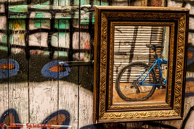 Bicycle in a frame