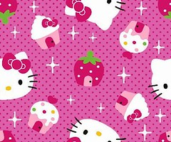 4my3boyz Fabrics Hello Kitty Faces Strawberry Cupcake Houses