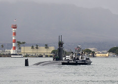 USS Cheyenne (SSN 773) departs Joint Base Pearl Harbor-Hickam Dec. 13 for a Western Pacific deployment. (U.S. Navy photo by Mass Communication Specialist 2nd Class Steven Khor)