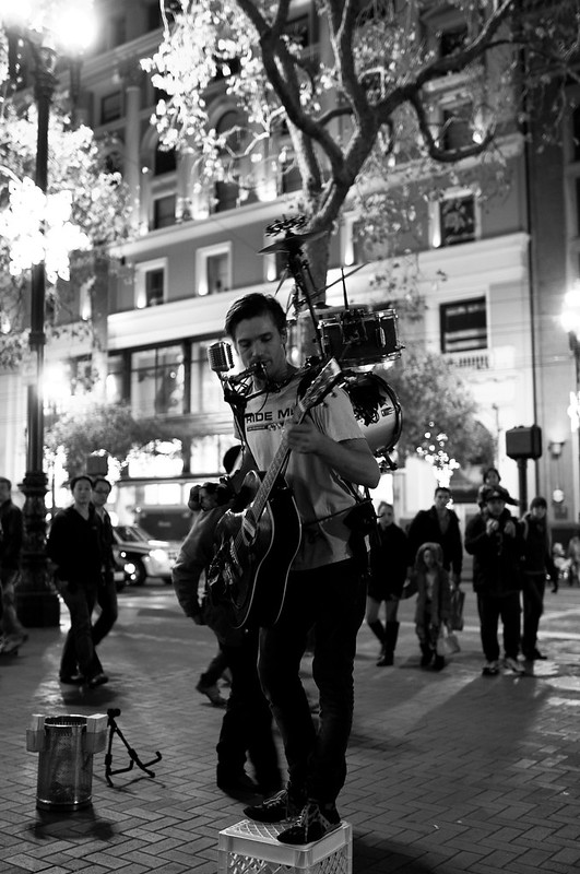 One man performer, shot with 24mm at 1.4 on D90