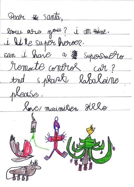 Maximilien's letter to Santa.