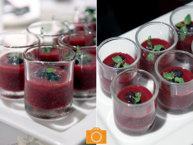 The Fruit Garden Strawberry Gazpacho with Berry Dream Jam in Votive Glass