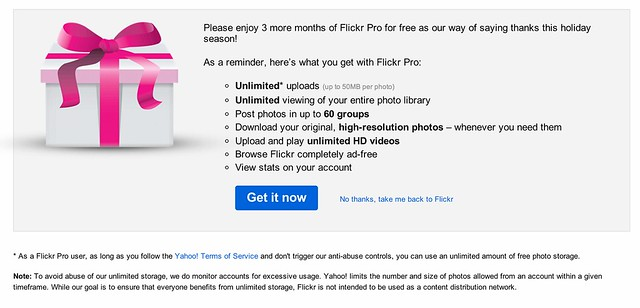 Joy to the World, Flickr Offers 3 Months of Pro for FREE!