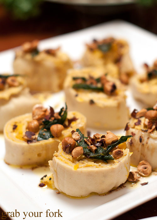 rotolo of pasta with pumpkin, sage and burnt butter at stomachs eleven dinner party christmas 2012