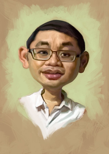 digital caricature of Goh Kok Leong for Hewlett Packard
