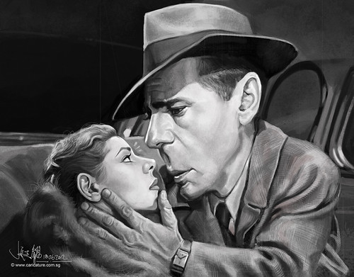 digital caricature painting of Bogart Hemphrey