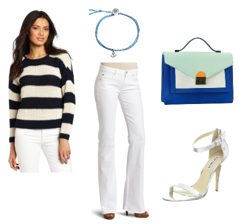 nautical outfits - striped sweater with white bootcut jeans