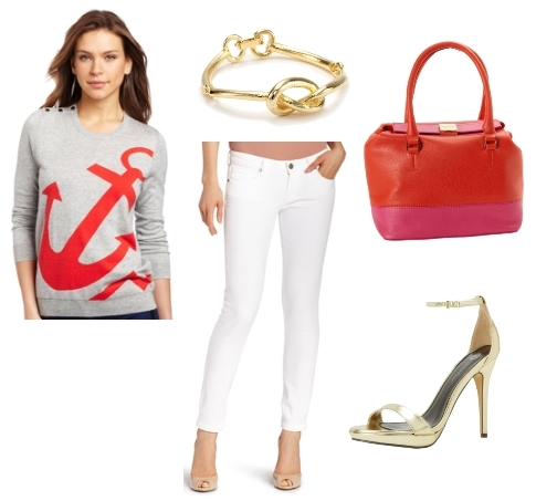 nautical outfits - sweater with white jeans