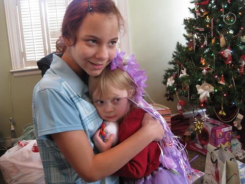hugging cousin Sarah