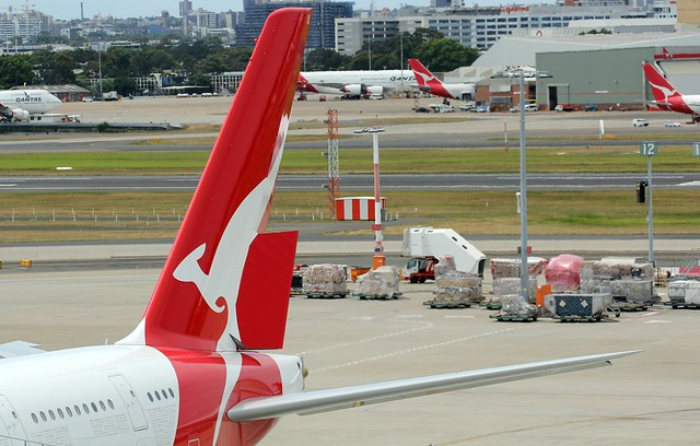 Qantas plane - Flying Kangaroo tail logo