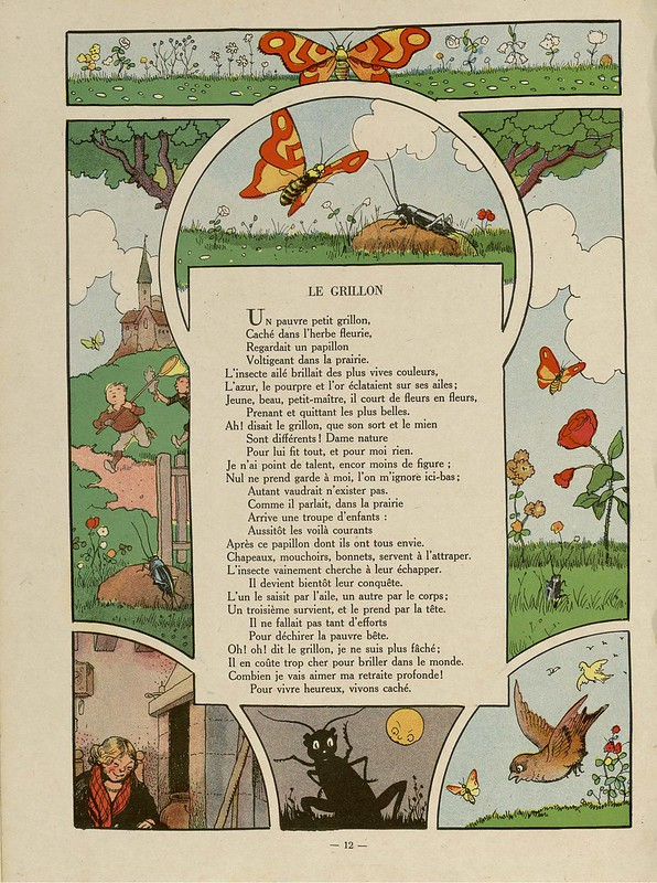 butterfly + insect related cartoon vignettes alongside a children's book page of verse