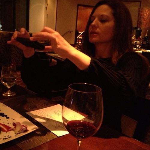 Toni snaps a photo of her 40th birthday dessert