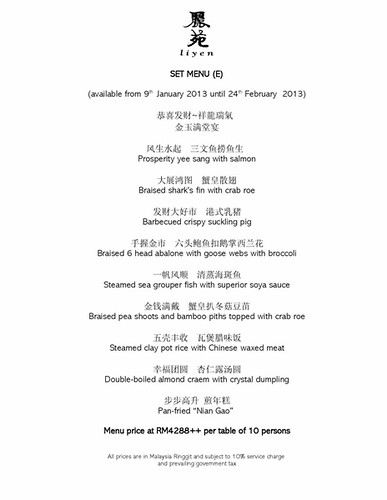 CNY Menu 2013 - Li Yen Chinese Restaurant, The Ritz Carlton Hotel