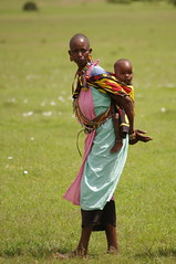 Masai woman with child